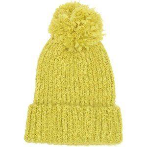 NWT Mossimo Cunky Knit Pom Pom Beanie Hat Yellow
